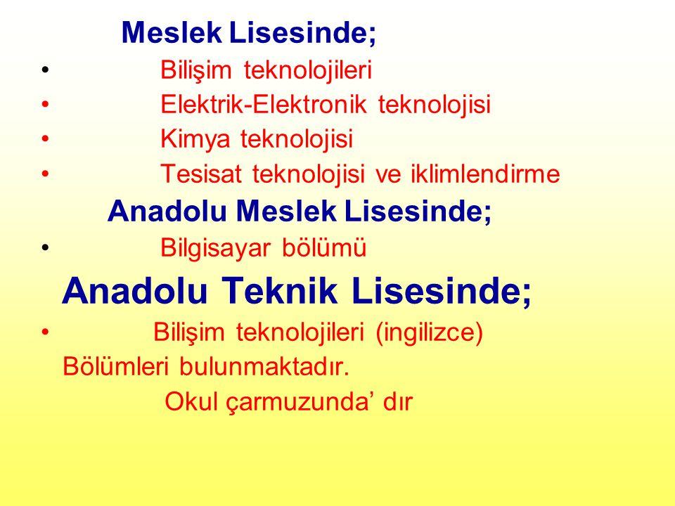 Anadolu Teknik Lisesinde;