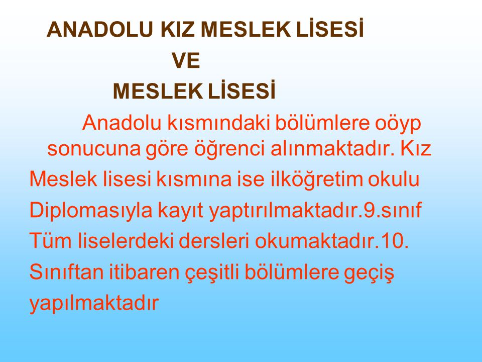 ANADOLU KIZ MESLEK LİSESİ
