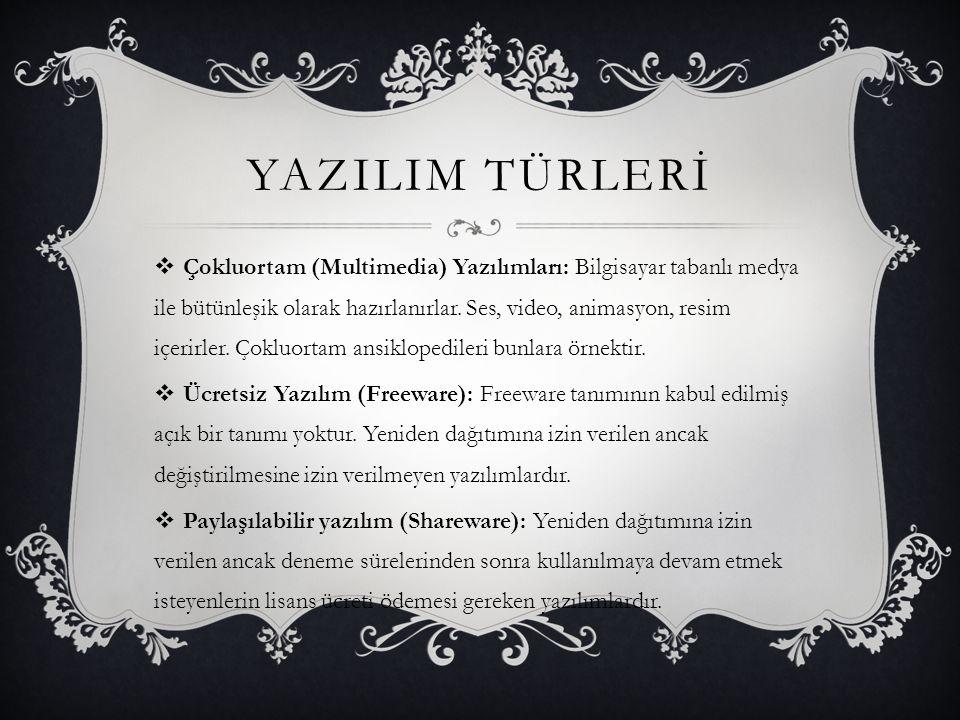 YAZILIM TÜRLERİ