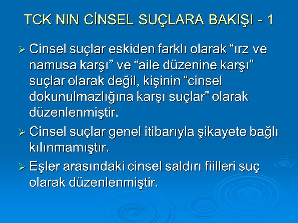 TCK NIN CİNSEL SUÇLARA BAKIŞI - 1