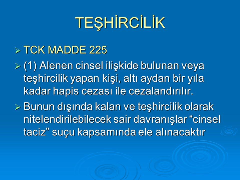 TEŞHİRCİLİK TCK MADDE 225.
