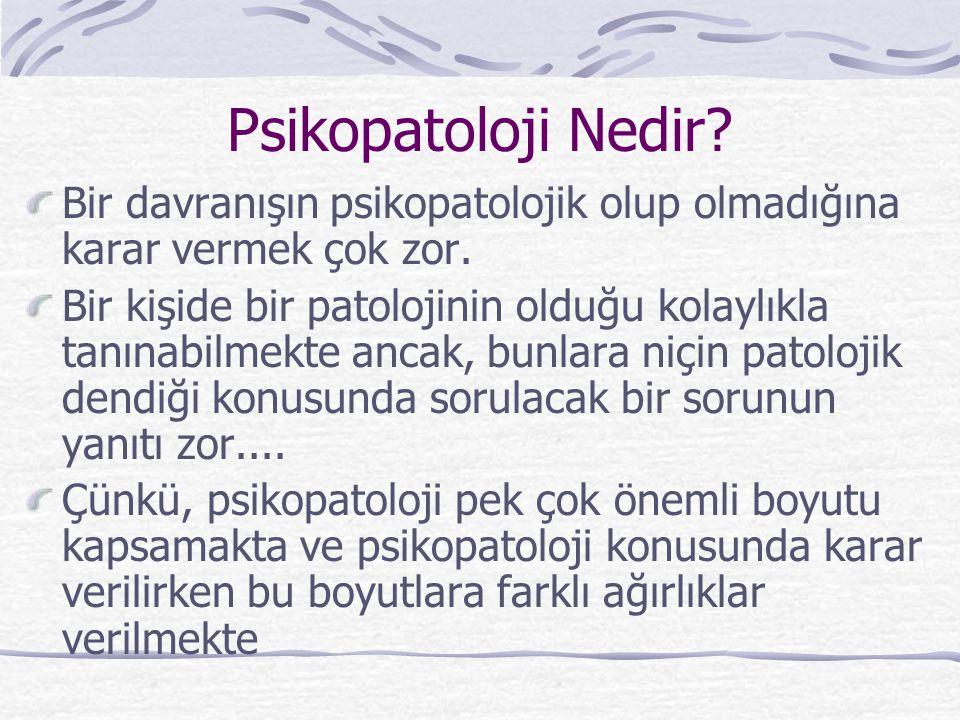 Psikopatoloji Nedir Bir davranışın psikopatolojik olup olmadığına karar vermek çok zor.