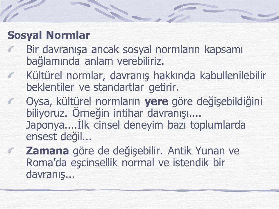 Sosyal Normlar Bir davranışa ancak sosyal normların kapsamı bağlamında anlam verebiliriz.