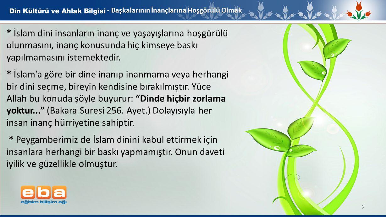 - Başkalarının İnançlarına Hoşgörülü Olmak