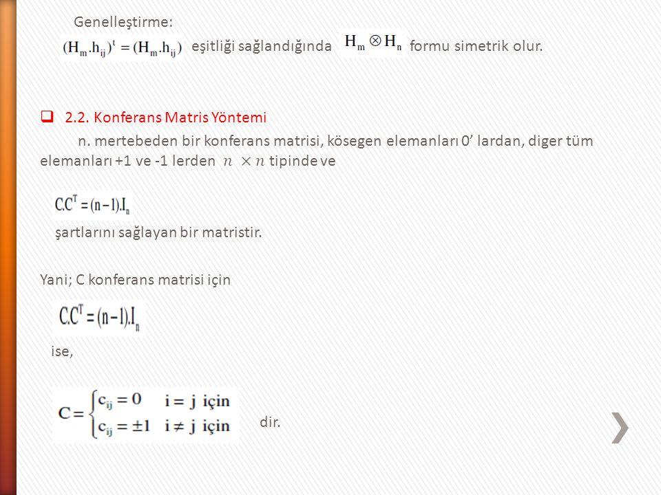 Genelleştirme: eşitliği sağlandığında formu simetrik olur. 2.2. Konferans Matris Yöntemi.