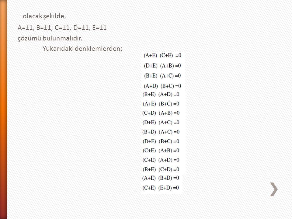 olacak şekilde, A=±1, B=±1, C=±1, D=±1, E=±1 çözümü bulunmalıdır.