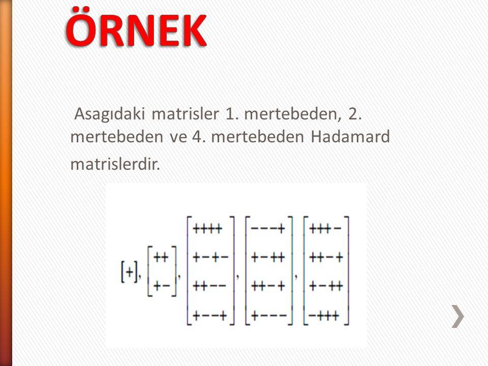 ÖRNEK Asagıdaki matrisler 1. mertebeden, 2. mertebeden ve 4. mertebeden Hadamard matrislerdir.