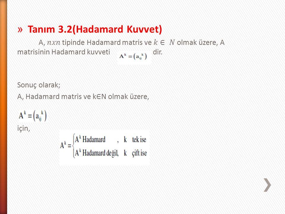 Tanım 3.2(Hadamard Kuvvet)