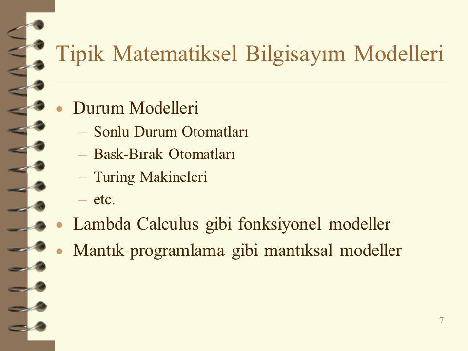 Tipik Matematiksel Bilgisayım Modelleri