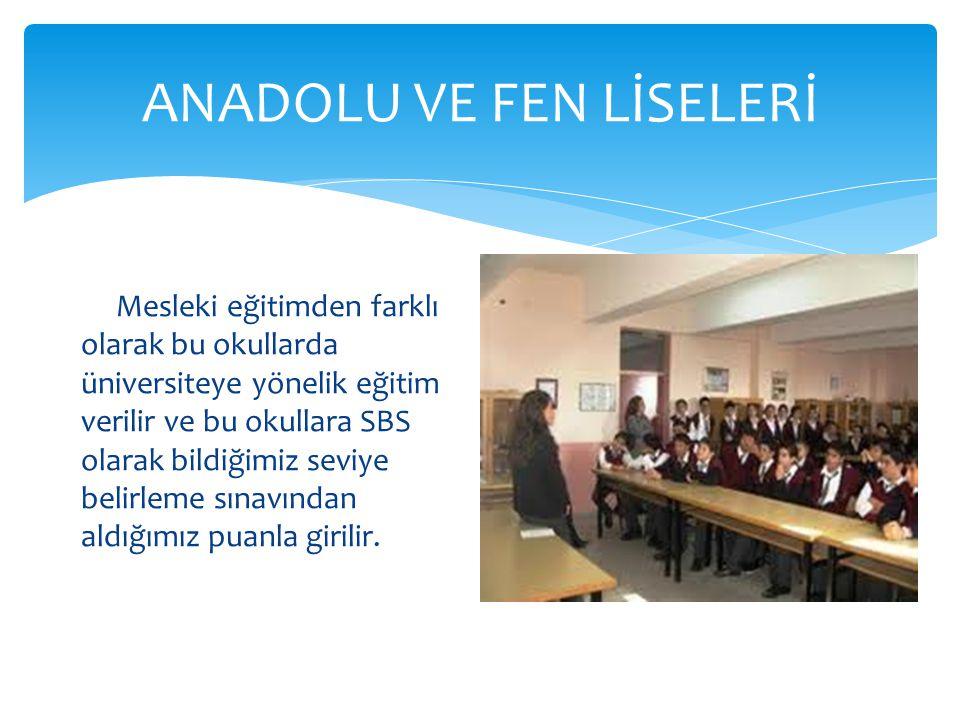 ANADOLU VE FEN LİSELERİ