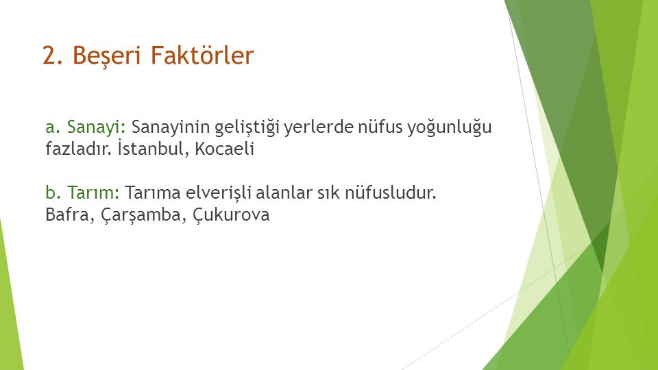 2. Beşeri Faktörler a. Sanayi: Sanayinin geliştiği yerlerde nüfus yoğunluğu. fazladır. İstanbul, Kocaeli.