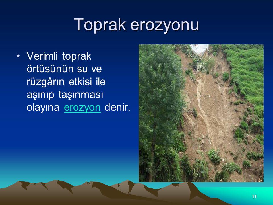 Toprak erozyonu Verimli toprak örtüsünün su ve rüzgârın etkisi ile aşınıp taşınması olayına erozyon denir.