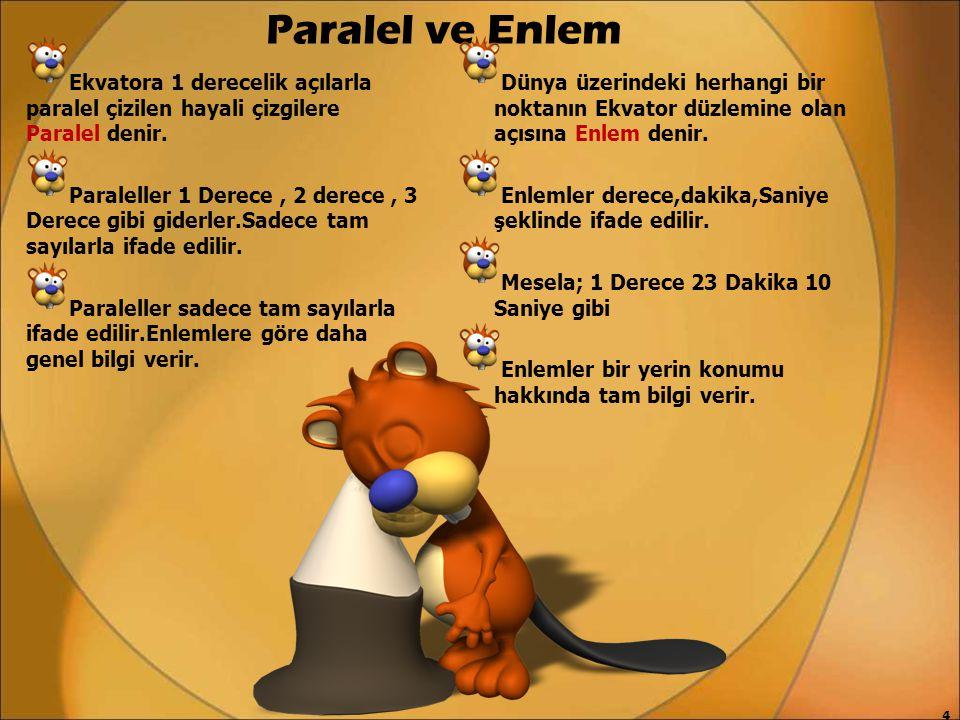 Paralel ve Enlem Ekvatora 1 derecelik açılarla paralel çizilen hayali çizgilere Paralel denir.