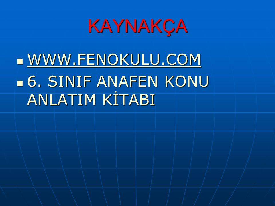 KAYNAKÇA WWW.FENOKULU.COM 6. SINIF ANAFEN KONU ANLATIM KİTABI