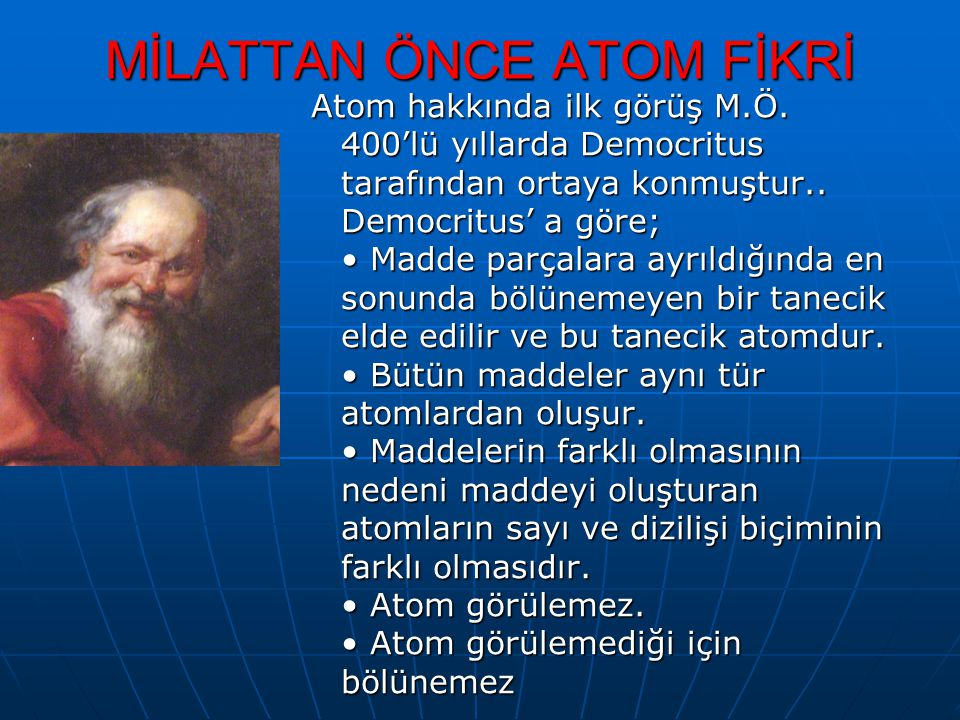 MİLATTAN ÖNCE ATOM FİKRİ