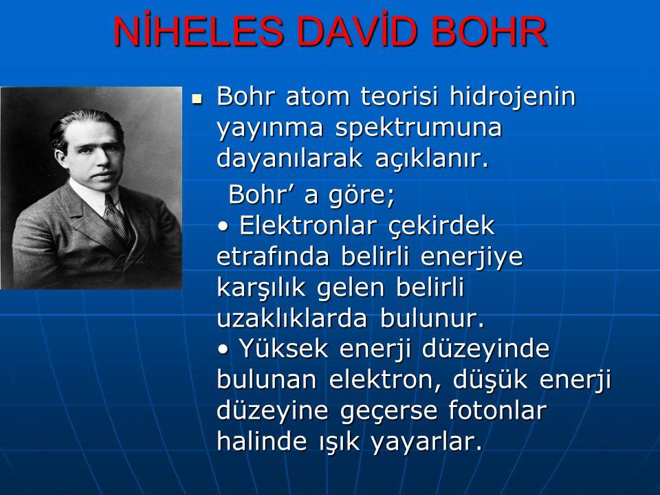 NİHELES DAVİD BOHR Bohr atom teorisi hidrojenin yayınma spektrumuna dayanılarak açıklanır.