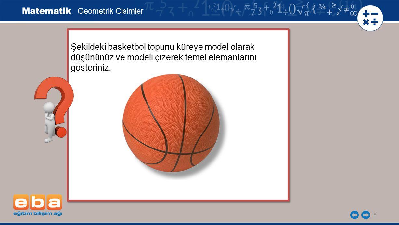 Geometrik Cisimler Şekildeki basketbol topunu küreye model olarak düşününüz ve modeli çizerek temel elemanlarını gösteriniz.