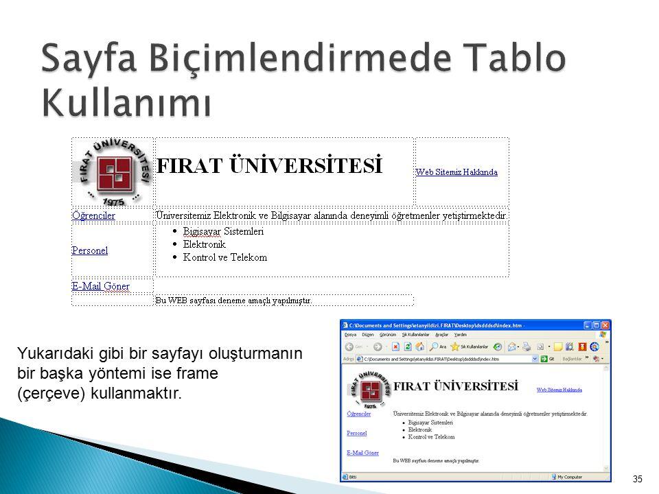 Sayfa Biçimlendirmede Tablo Kullanımı