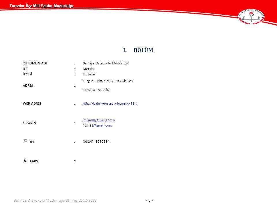 BÖLÜM  TEL  FAKS Bahriye Ortaokulu Müdürlüğü Brifing 2012-2013 - 3 -