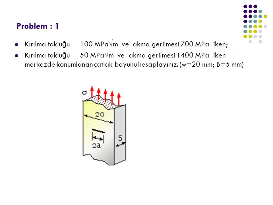 Problem : 1 Kırılma tokluğu 100 MPa√m ve akma gerilmesi 700 MPa iken;