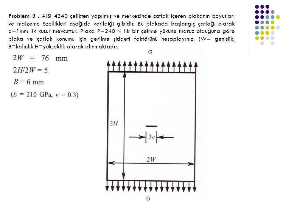 Problem 2 : AISI 4340 çelikten yapılmış ve merkezinde çatlak içeren plakanın boyutları ve malzeme özellikleri aşağıda verildiği gibidir.