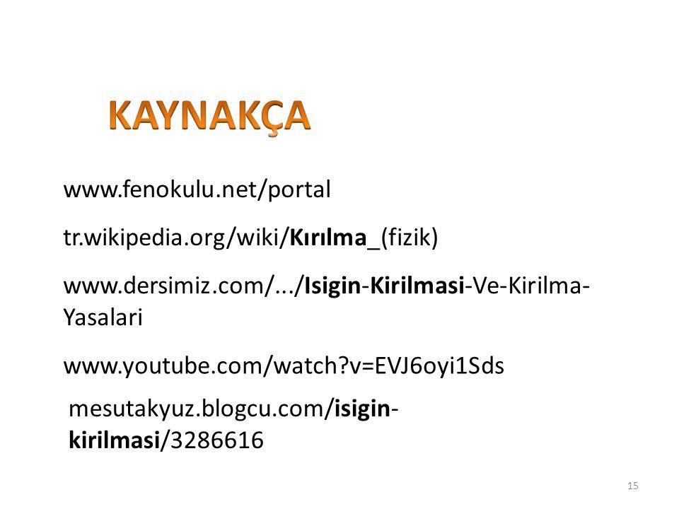 KAYNAKÇA www.fenokulu.net/portal tr.wikipedia.org/wiki/Kırılma_(fizik)