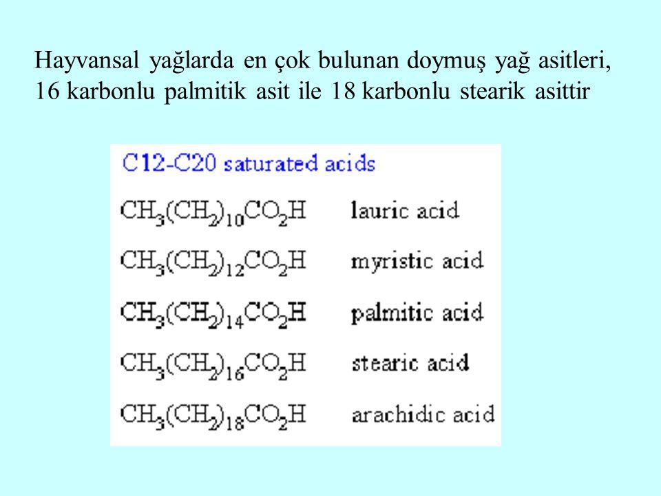 Hayvansal yağlarda en çok bulunan doymuş yağ asitleri, 16 karbonlu palmitik asit ile 18 karbonlu stearik asittir