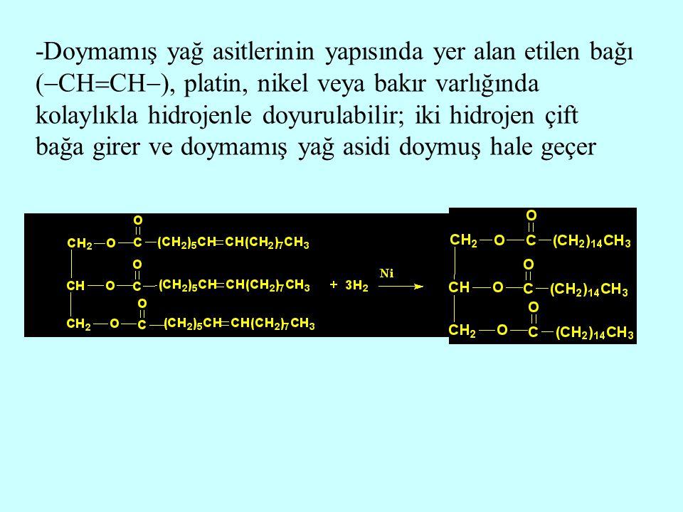 -Doymamış yağ asitlerinin yapısında yer alan etilen bağı (CHCH), platin, nikel veya bakır varlığında kolaylıkla hidrojenle doyurulabilir; iki hidrojen çift bağa girer ve doymamış yağ asidi doymuş hale geçer