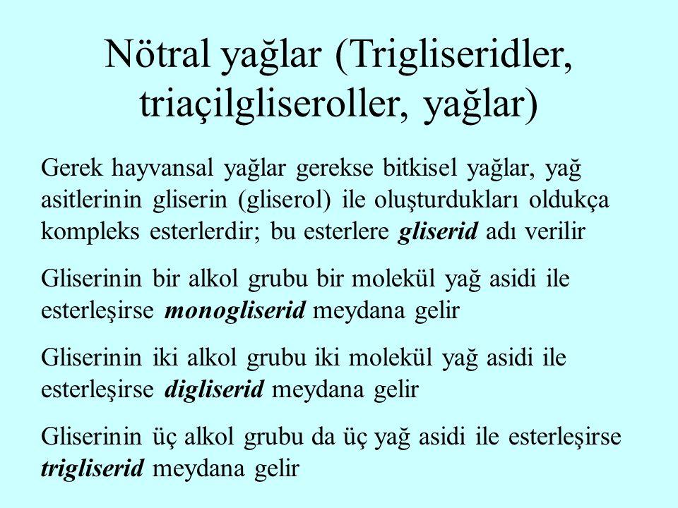 Nötral yağlar (Trigliseridler, triaçilgliseroller, yağlar)