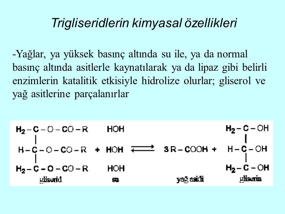 Trigliseridlerin kimyasal özellikleri