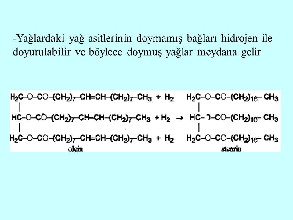 -Yağlardaki yağ asitlerinin doymamış bağları hidrojen ile doyurulabilir ve böylece doymuş yağlar meydana gelir