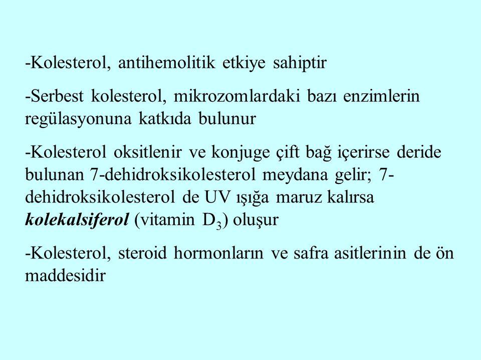 -Kolesterol, antihemolitik etkiye sahiptir