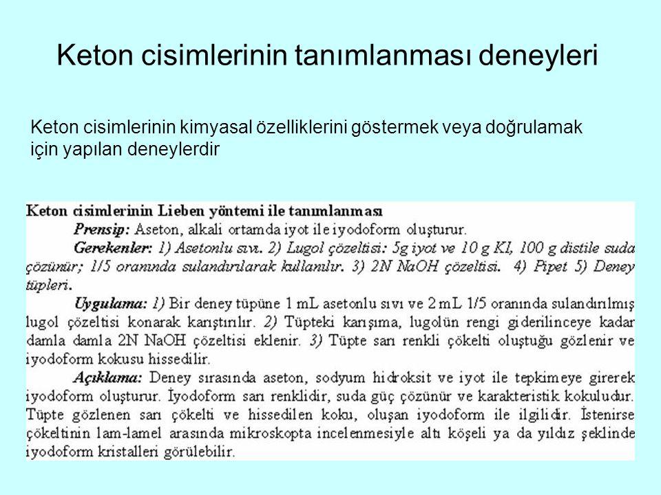 Keton cisimlerinin tanımlanması deneyleri