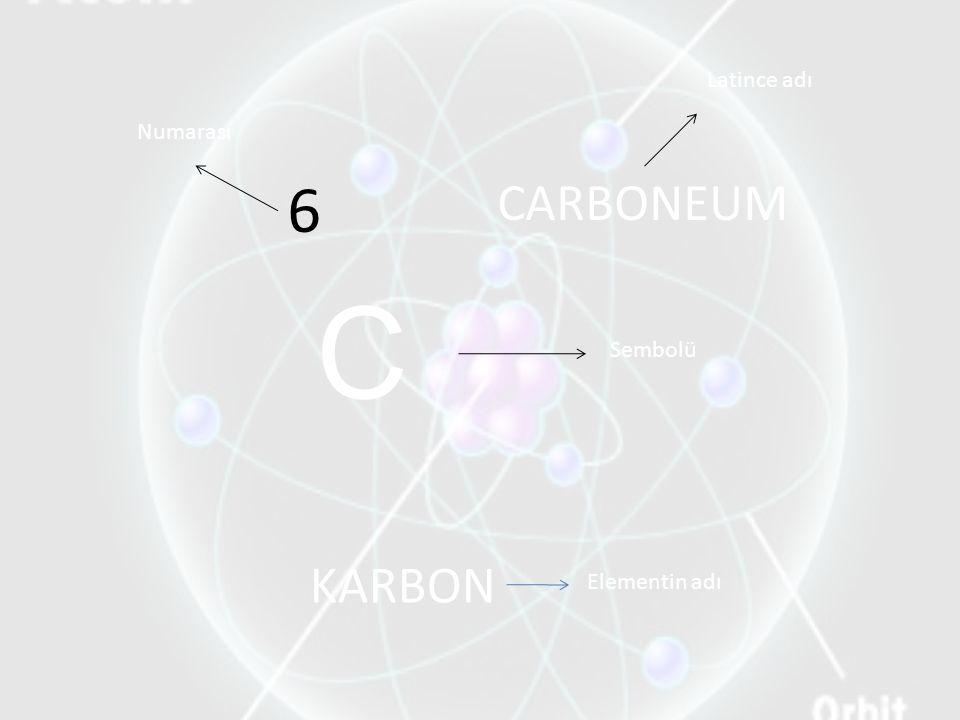 Latince adı Numarası 6 CARBONEUM C Sembolü KARBON Elementin adı
