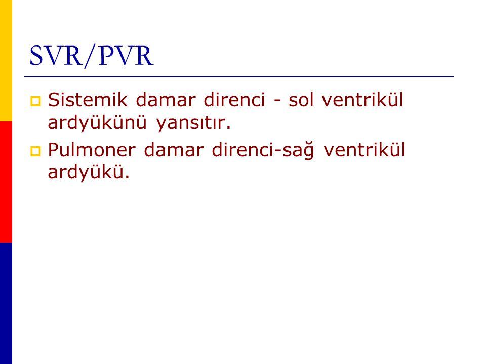 SVR/PVR Sistemik damar direnci - sol ventrikül ardyükünü yansıtır.