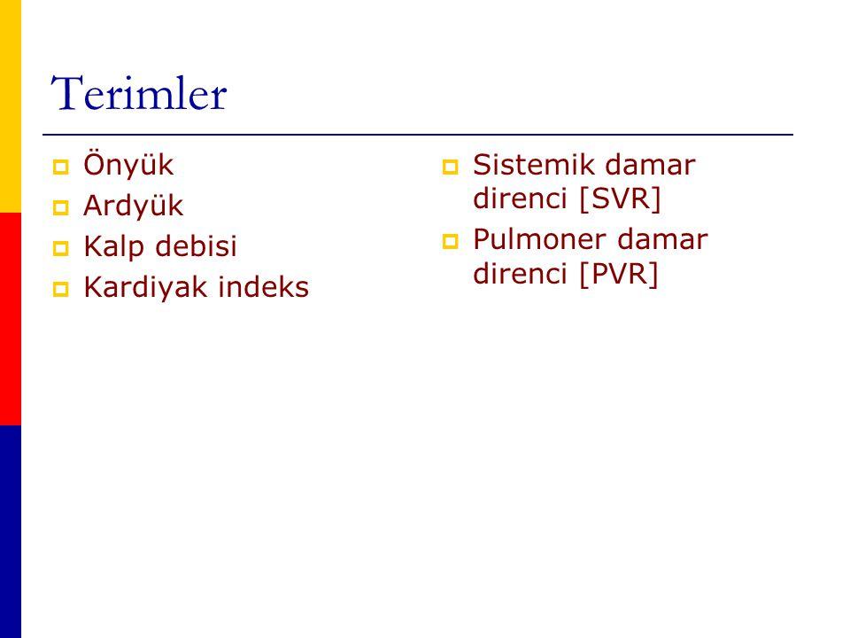 Terimler Önyük Ardyük Kalp debisi Kardiyak indeks