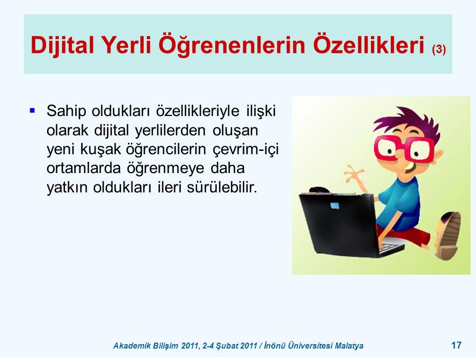 Dijital Yerli Öğrenenlerin Özellikleri (3)