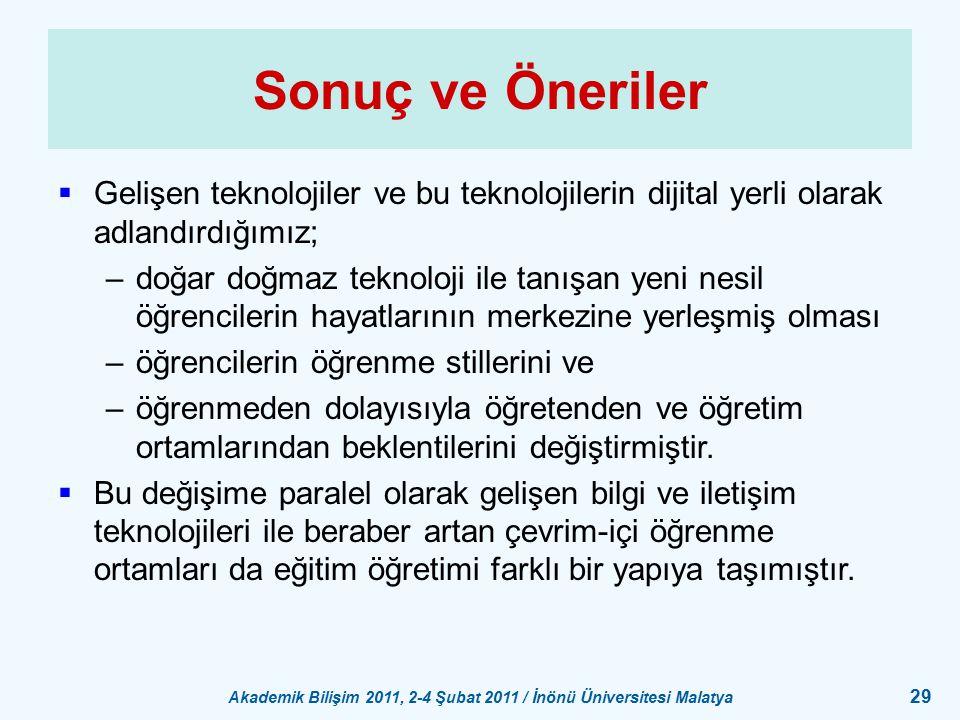 Akademik Bilişim 2011, 2-4 Şubat 2011 / İnönü Üniversitesi Malatya