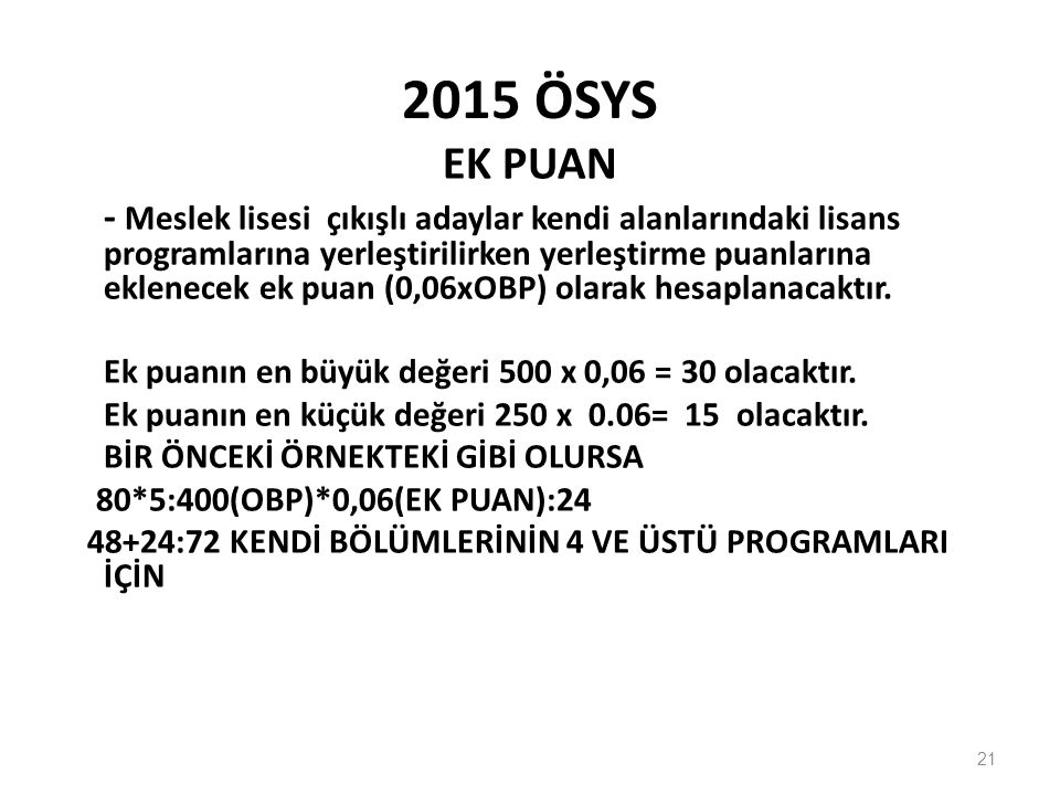 2015 ÖSYS EK PUAN.
