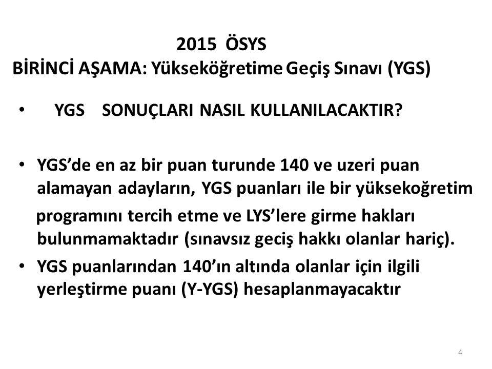 2015 ÖSYS BİRİNCİ AŞAMA: Yükseköğretime Geçiş Sınavı (YGS)