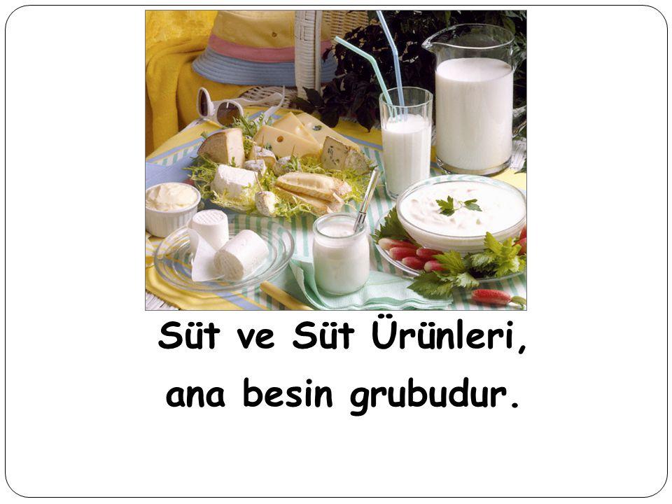 Süt ve Süt Ürünleri, ana besin grubudur.
