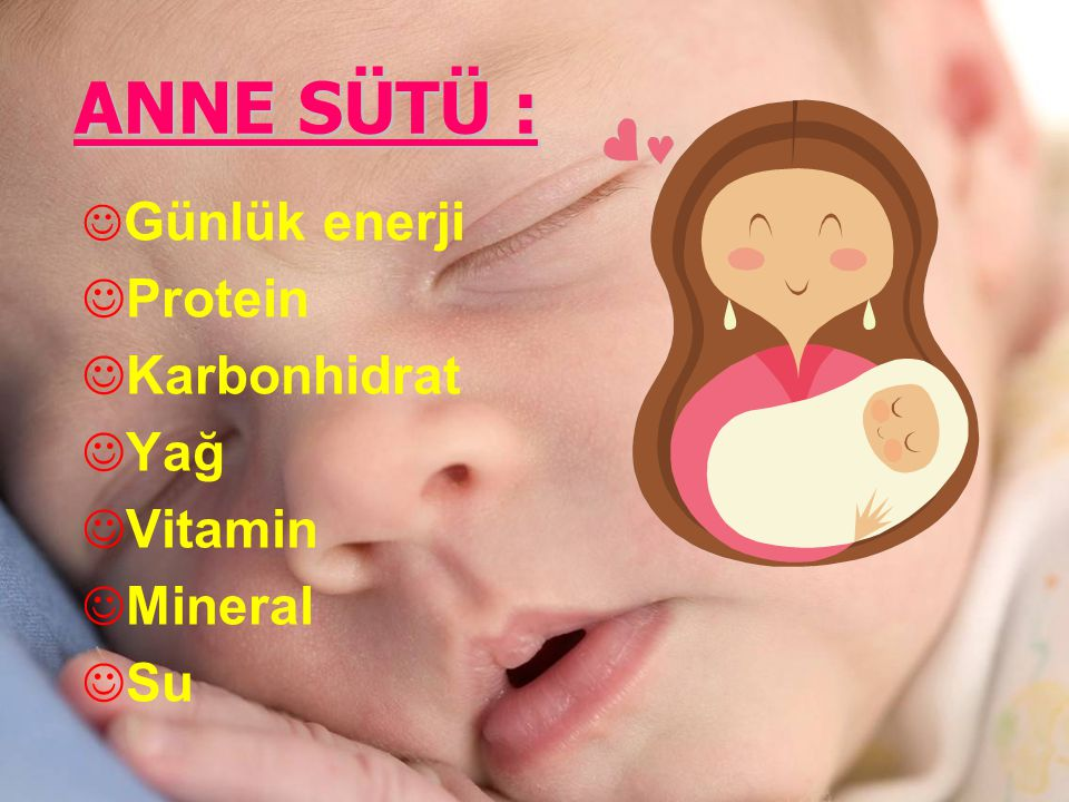 ANNE SÜTÜ : Günlük enerji Protein Karbonhidrat Yağ Vitamin Mineral Su