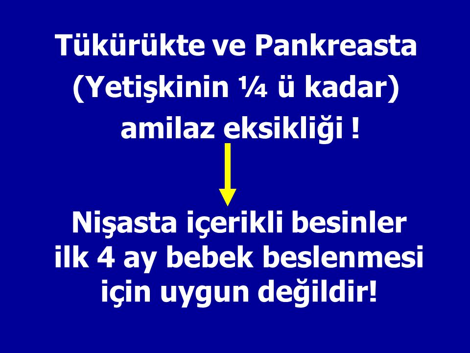 Tükürükte ve Pankreasta (Yetişkinin ¼ ü kadar) amilaz eksikliği !