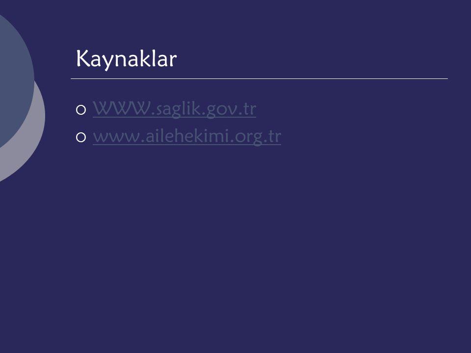 Kaynaklar WWW.saglik.gov.tr www.ailehekimi.org.tr