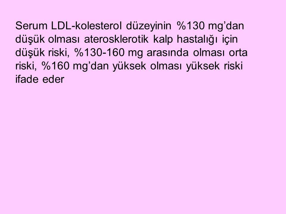 Serum LDL-kolesterol düzeyinin %130 mg'dan düşük olması aterosklerotik kalp hastalığı için düşük riski, %130-160 mg arasında olması orta riski, %160 mg'dan yüksek olması yüksek riski ifade eder