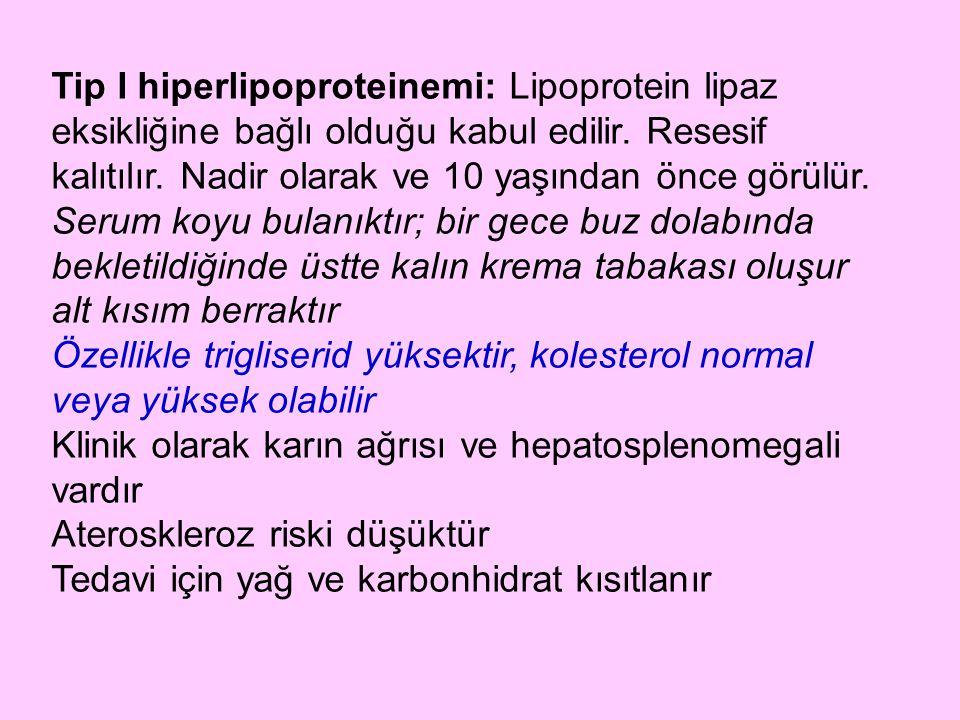 Tip I hiperlipoproteinemi: Lipoprotein lipaz eksikliğine bağlı olduğu kabul edilir. Resesif kalıtılır. Nadir olarak ve 10 yaşından önce görülür.