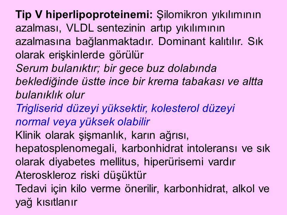 Tip V hiperlipoproteinemi: Şilomikron yıkılımının azalması, VLDL sentezinin artıp yıkılımının azalmasına bağlanmaktadır. Dominant kalıtılır. Sık olarak erişkinlerde görülür