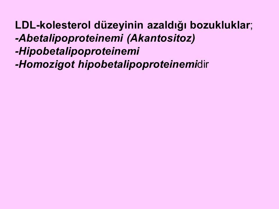 LDL-kolesterol düzeyinin azaldığı bozukluklar;