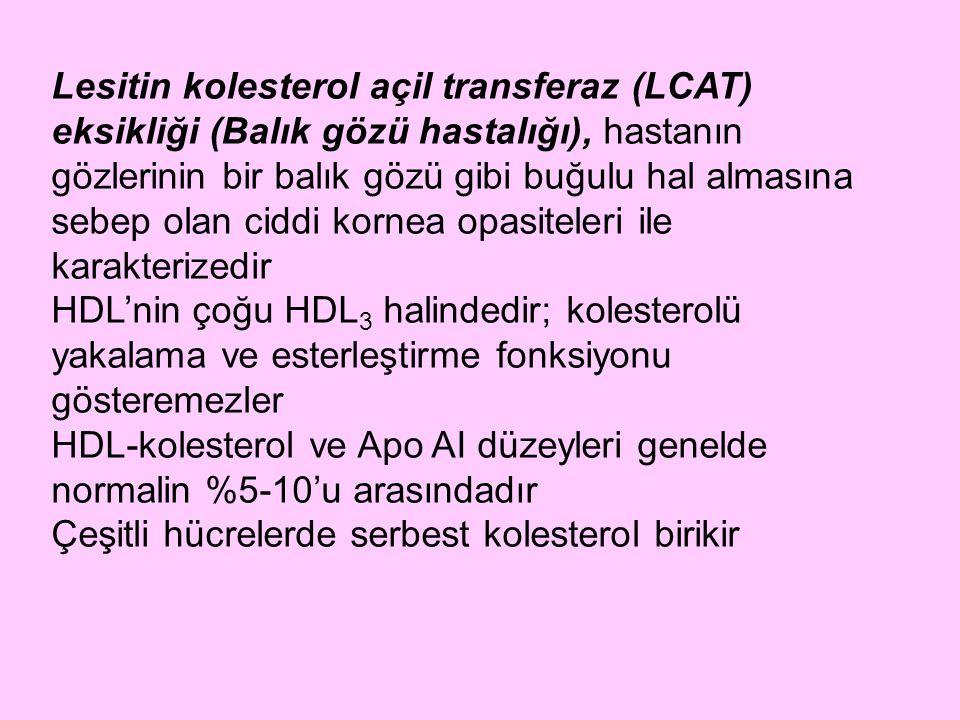Lesitin kolesterol açil transferaz (LCAT) eksikliği (Balık gözü hastalığı), hastanın gözlerinin bir balık gözü gibi buğulu hal almasına sebep olan ciddi kornea opasiteleri ile karakterizedir