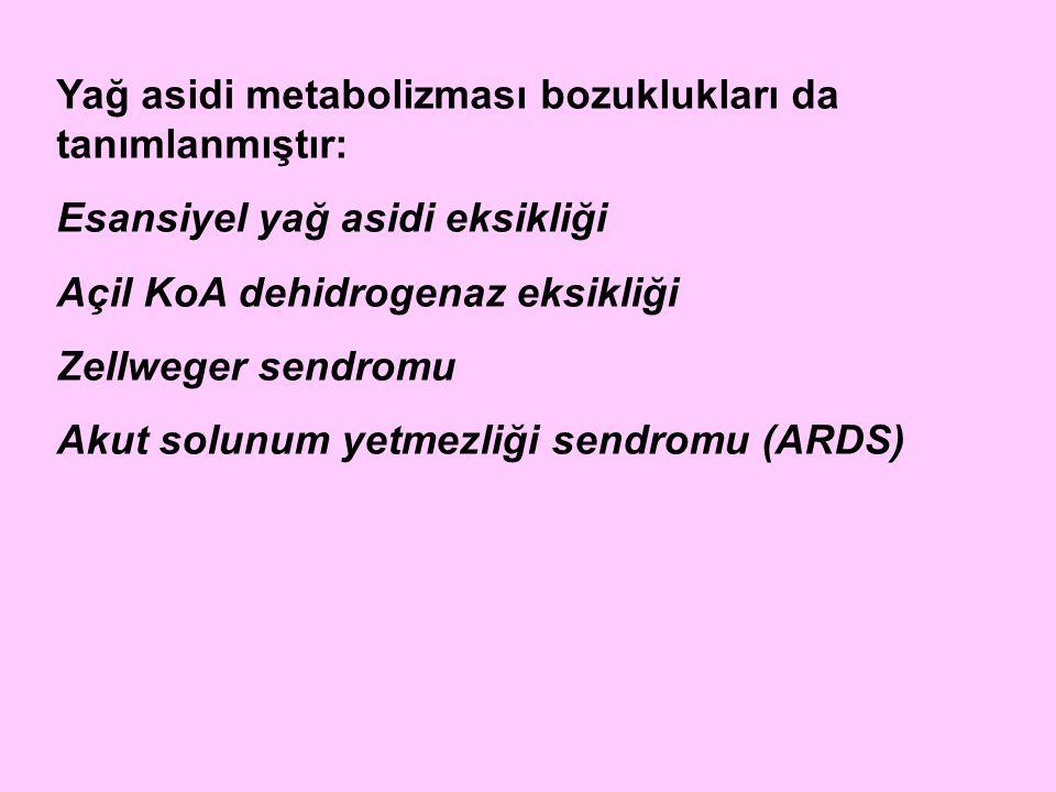 Yağ asidi metabolizması bozuklukları da tanımlanmıştır: